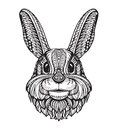 Rabbit or Bunny head  on white background. Hand drawn vector illustration of an ethnic style Royalty Free Stock Photo
