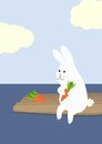 Rabbit with carrot on a raft stock illustration Royalty Free Stock Photos