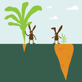 Rabbit and carrot vector illustration Royalty Free Stock Images