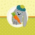 Rabbit with carrots vector illustration little Royalty Free Stock Photo