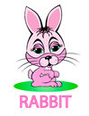 Rabbit cartoon little pink isolation on a white background Royalty Free Stock Photos