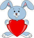 Rabbit cartoon with red heart Royalty Free Stock Photos