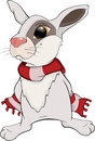Rabbit cartoon white fluffy with a red scarf Stock Photography