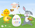 Rabbit chick lamb easter painters a cute happy greeting card with a bunny a and a with palette and paintbrush painting a egg in a Royalty Free Stock Photos