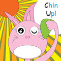 Rabbit chin up illustration of design felt hard hot unhappy uncomfortable etc situation but white place is your sample text Stock Photo