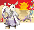 Rabbit: Chinese new year greeting card Stock Photo