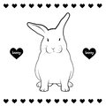 Rabbit drawing line of bunny Stock Image