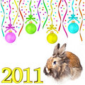Rabbit dull christmas balls hanging on tapes Stock Images