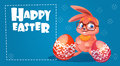 Rabbit Easter Holiday Bunny Hold Decorated Eggs Greeting Card