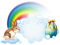 A rabbit and an egg near the rainbow illustration of on white background Stock Photography