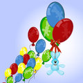 Rabbit floats with balloons Royalty Free Stock Photo
