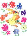 Rabbit and flowers, sketch Stock Image
