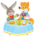 Rabbit and Fox at table Stock Photography