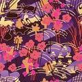 Rabbit group japan line gold purple seamless pattern