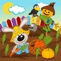 Rabbit harvest vector illustration eps Royalty Free Stock Photography