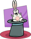 Rabbit in hat cartoon illustration of funny cute bunny or the magic Royalty Free Stock Photo