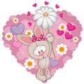 Rabbit with hearts and flower