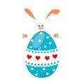 Rabbit holding big easter eggs design