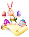 A rabbit holding two easter eggs illustration of on white background Royalty Free Stock Photography