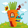 Rabbit in house of carrots vector illustration Royalty Free Stock Image