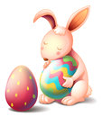 A rabbit hugging a colorful easter egg illustration of on white background Stock Photography