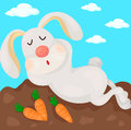 Rabbit illustration of cartoon sleeping Stock Photos