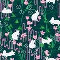 Rabbit Japan Sakura style line green seamless pattern