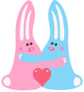 Rabbit love two enamored with heart Royalty Free Stock Photos