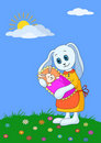 Rabbit mother with baby Stock Photos