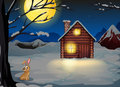 A rabbit outside the house in a moonlight scenery illustration of Royalty Free Stock Photo