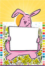 Rabbit poster easter pink bunny holding blank sign Royalty Free Stock Photo