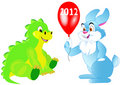 Rabbit presents gift a  dragon Royalty Free Stock Images