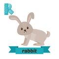 Rabbit. R Letter. Cute Childre...