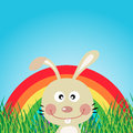 Rabbit with rainbow in the forest cute Stock Image