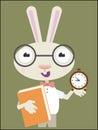Rabbit school back to illustration Stock Photo