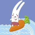 Rabbit and the sea on carrot floating on Stock Photo