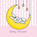Rabbit sleeping on the moon baby girl shower card Royalty Free Stock Photography