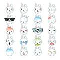 Rabbit smiley faces icon set. Royalty Free Stock Photo