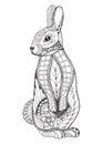 Rabbit standing. Zentangled and stippled vector illustration. An