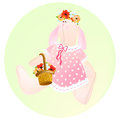 Rabbit tilda the main symbol of this illustration is s dressed in pink dress keeps bags with flowers background of Royalty Free Stock Image