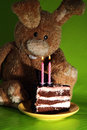 Rabbit toy cake candles green Stock Photography