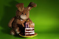 Rabbit toy cake candles green Royalty Free Stock Photos