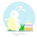 Rabbit with trolley happy white carries on a painted egg Stock Images