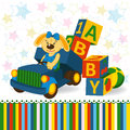 Rabbit on truck unload baby blocks vector illustration Stock Photography