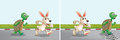 Rabbit and turtle race on the road Royalty Free Stock Photo