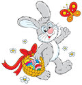 Rabbit walking his basket colorful easter eggs Royalty Free Stock Photography