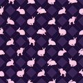 Rabbit watercolor diamond symmetry seamless pattern
