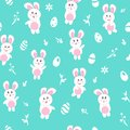 Rabbit in winter, seamless pattern, Happy easter egg, background texture cute baby cartoon seasonal holiday, vector illustration