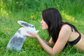 Rabbit and woman Stock Images
