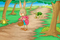 Rabbit in woods illustration of and animals the Royalty Free Stock Images